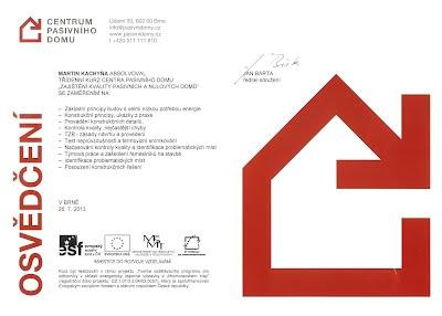 Zajištĕní kvality pasivních a nulových domů- centrum pasivniho domu,osvedceni