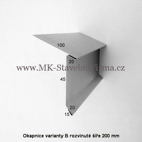 Okapnice varianty B - rozvinuté šíře 200 mm