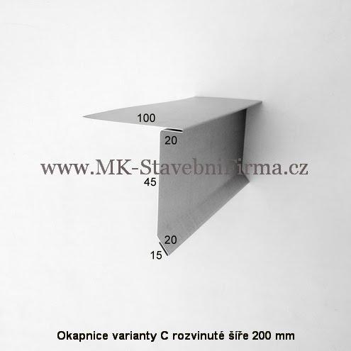 Okapnice varianty C - rozvinuté šíře 200 mm