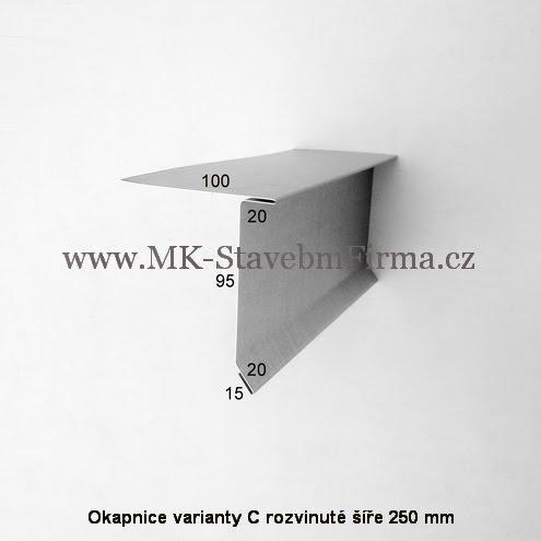 Okapnice varianty C - rozvinuté šíře 250 mm
