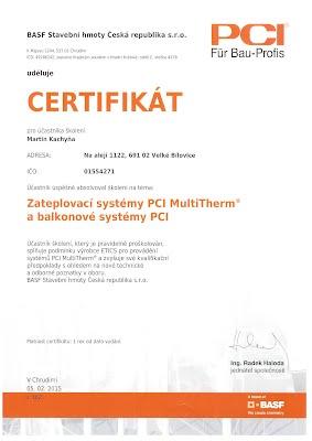 Certifikát BASF stavební hmoty